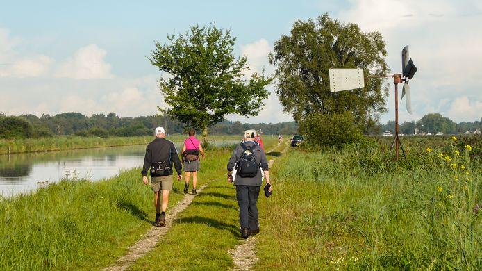 Deelnemers aan de Weerribben-Wieden Wandel3Daagse in 2017 onderweg.