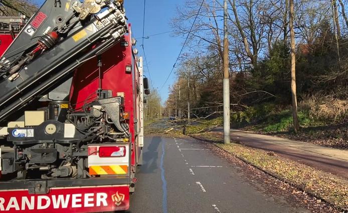 De brandweer op de Cattepoelseweg in Arnhem
