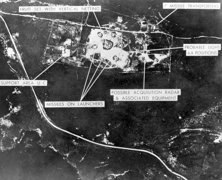 De luchtfoto die werd genomen door een Amerikaans verkenningsvliegtuig.  Beeld AFP
