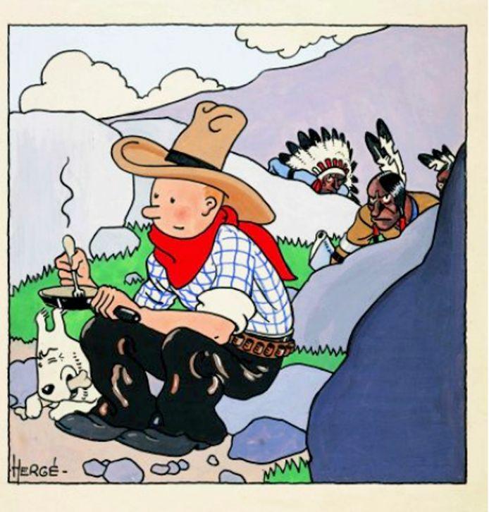 Een beeld uit 'Kuifje in Amerika'.