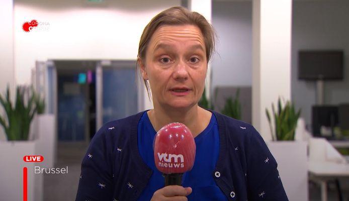 Professor Erika Vlieghe van de taskforce die de exitstrategie uit deze coronacrisis moet bepalen.
