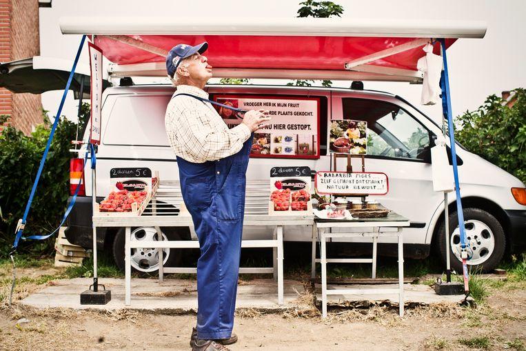 Aardbeienverkoper Harry Haezevoets in Diest.