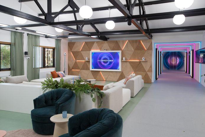 De huiskamer in het nieuwe Big Brother-huis in Amsterdam-Zuidoost.
