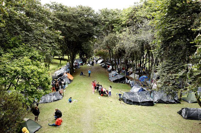 Venezolaanse vluchtelingen in een tentenkamp in Bogota, Colombia.