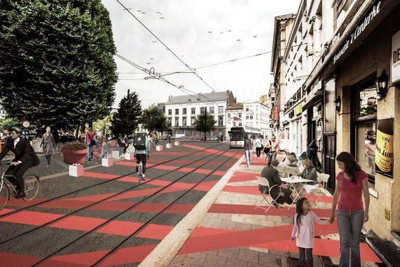 Rode strepen en bloembakken aan het Koophandelsplein.