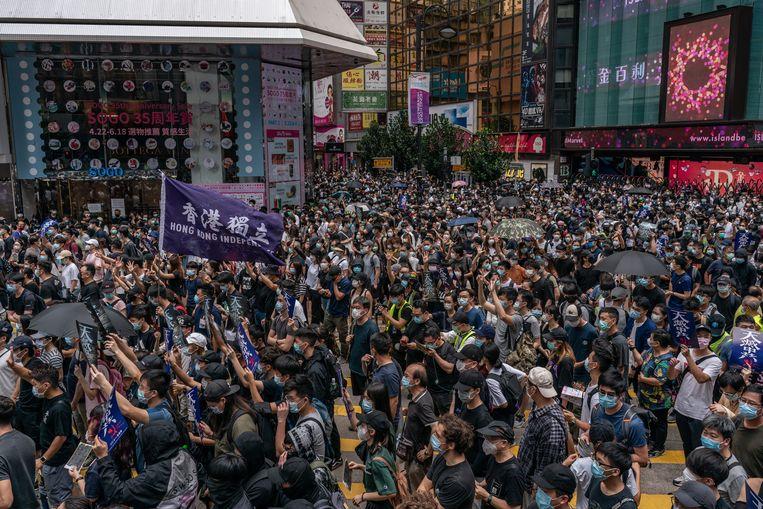 Massale demonstraties zondag in Hongkong. Beeld Getty Images