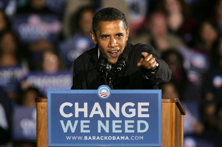 Barack Obama veroorzaakte in 2008 een politieke 'aardverschuiving'. Beeld AP