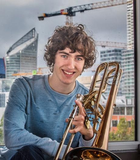 Supertalent Pelle (17) uit Gouda begint actie voor nieuwe contrabas trombone