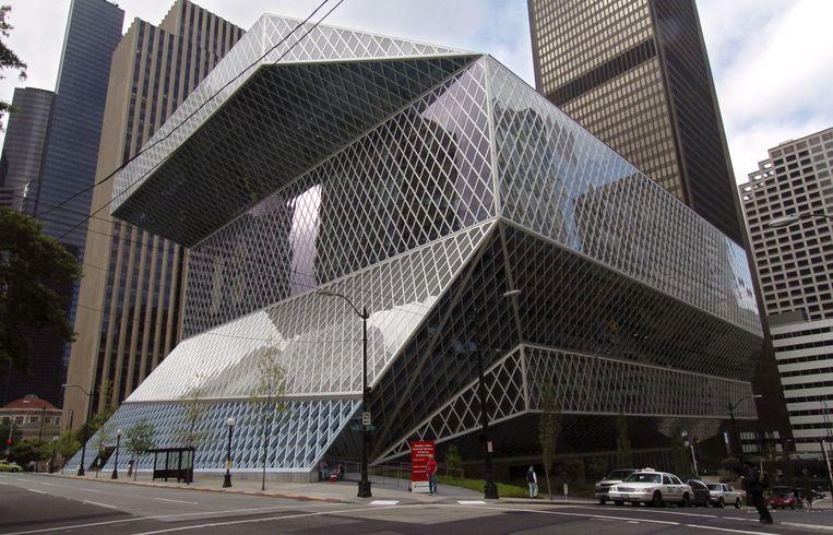 De nieuwe openbare bibliotheek van Seattle,  ontworpen in samenwerking met Rem Koolhaas. Beeld AFP