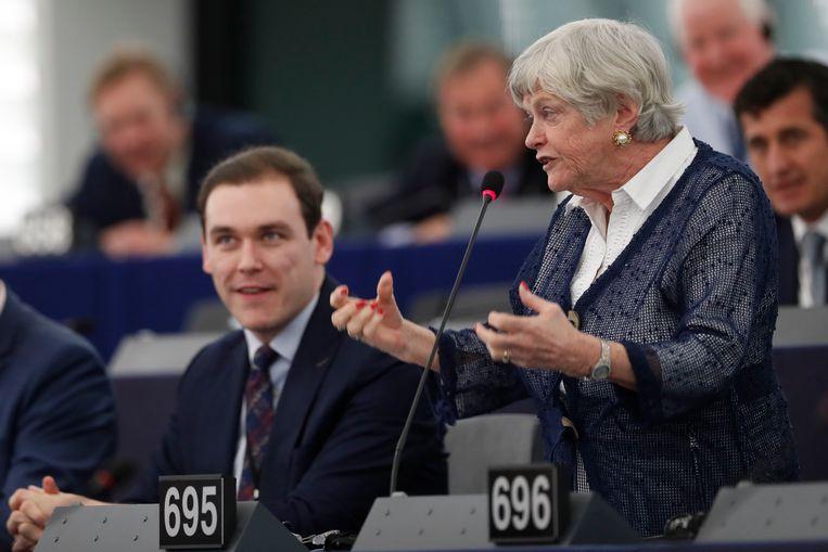 Ann Widdecombe houdt een betoog in Straatsburg. Beeld AP