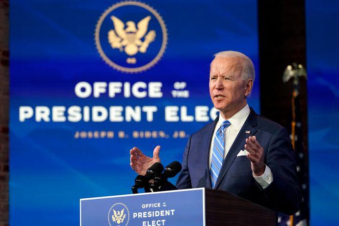Aankomend president Joe Biden tijdens zijn speech waarin hij een steunpakket van 1,9 biljoen dollar presenteerde.