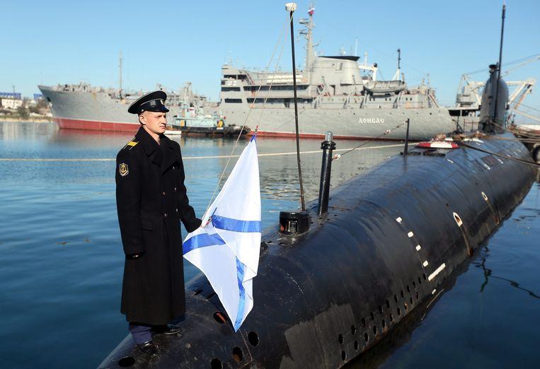 De Russische Zwarte Zeevloot in de haven van Sevastopol. Beeld EPA