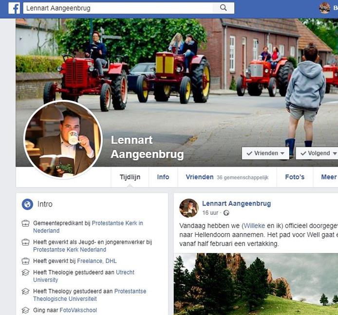 Een detail van de Facebookpagina van dominee Lennart Aangeenbrug.