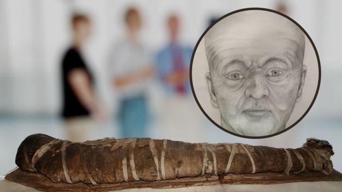 De Zwolse mummie na het onderzoek in 2001. Inzet: een gezichtsreconstructie.