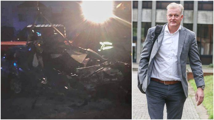 Verkeersdeskundige Johan Depuydt (r.) onderzocht destijds meer dan twee uur de plek van het ongeval (l).