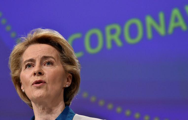 De voorzitter van de Europese Commissie, Ursula Von der Leyen. 'We moeten iedereen beschermen om onszelf te beschermen.' Beeld REUTERS
