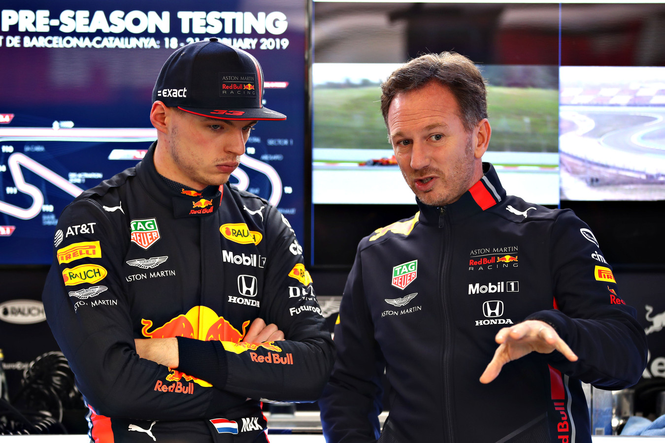 Max Verstappen en teambaas Christian Horner.