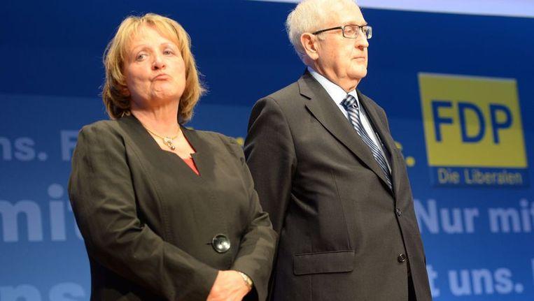 De Duitse ministers Sabine Leutheusser-Schnarrenberger en Rainer Bruederle. Beeld AFP