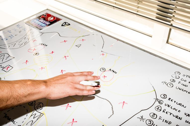 Een gameontwikkelaar van Twirlbound aan het werk. Beeld Jan Mulders
