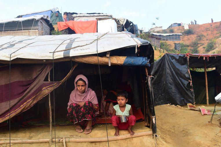 Een van de tentenkampen in Bangladesh. Beeld AFP