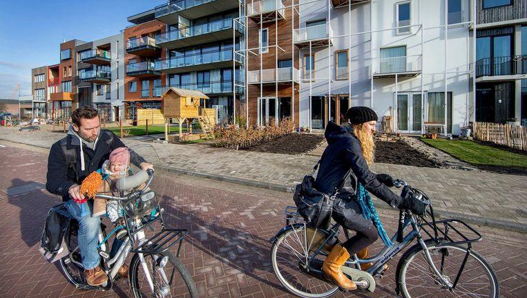 Nieuwbouw in Noord. 'Er zijn in Amsterdam in één jaar meer vierkante meters woonruimte gebouwd dan ooit tevoren' Beeld Jean-Pierre Jans