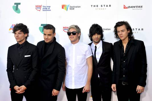 One Direction in 2014: (vlnr) Louis Tomlinson, Liam Payne, Niall Horan, Zayn Malik en Harry Styles.