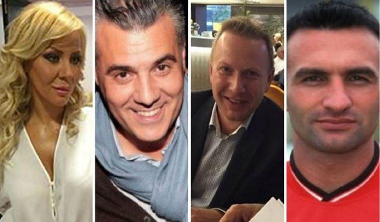 Van l naar r: Maria Bogojevska, de vriendin van Dejan Veljkovic, Karim Mejjati, Thierry Steemans en Dragan Siljanoski.