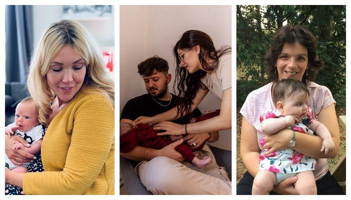 Van links naar rechts: Ann (32) met haar zoontje, Esma (21) en Nick (27) met hun tweeling,  Helena (36) met haar dochtertje.
