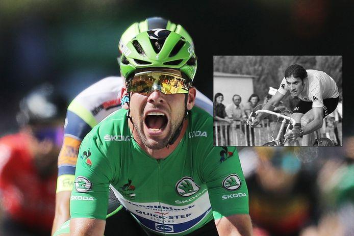 Mark Cavendish na de evenaring van het record van Eddy Merckx (inzet).