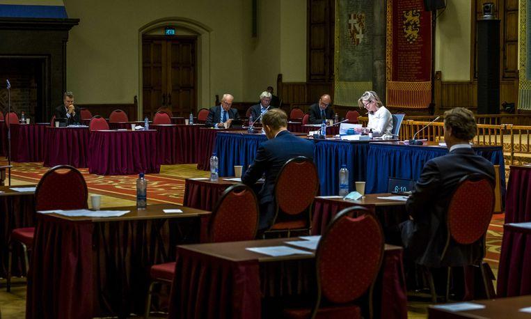 De Eerste Kamer tijdens het debat en stemming over Tijdelijke wet verkiezingen covid-19 in de Ridderzaal. Beeld ANP