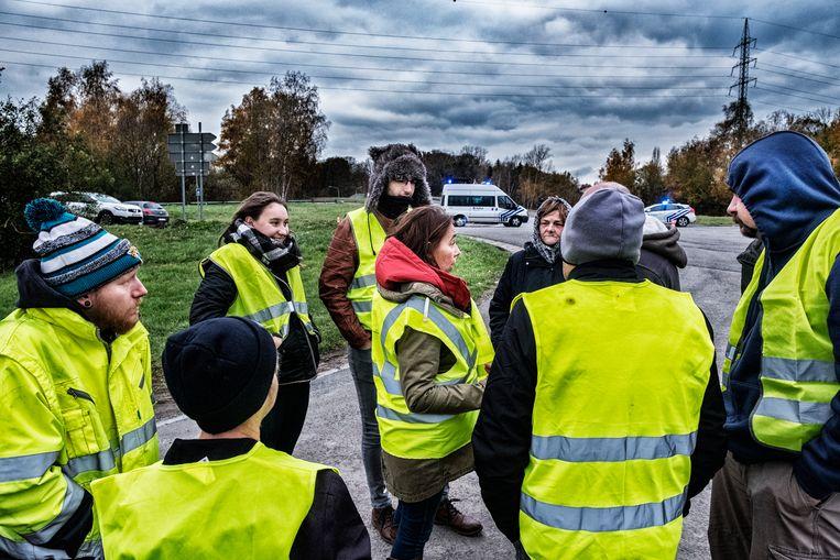 Actievoerders van de 'Gele hesjes' in Wallonië. Beeld Tim Dirven