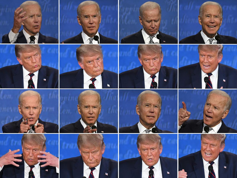 Trump en Biden tijdens het eerste debat.  Beeld AFP