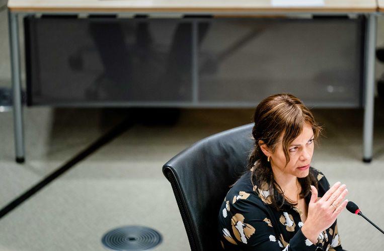 Sandra Palmen-Schlangen, vaktechnisch coordinator Toeslagen in 2016 en 2017, tijdens de tweede dag van de hoorzittingen. Beeld ANP