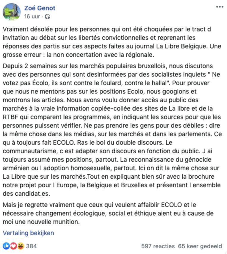 Excuses van Zoé Genot op Facebook