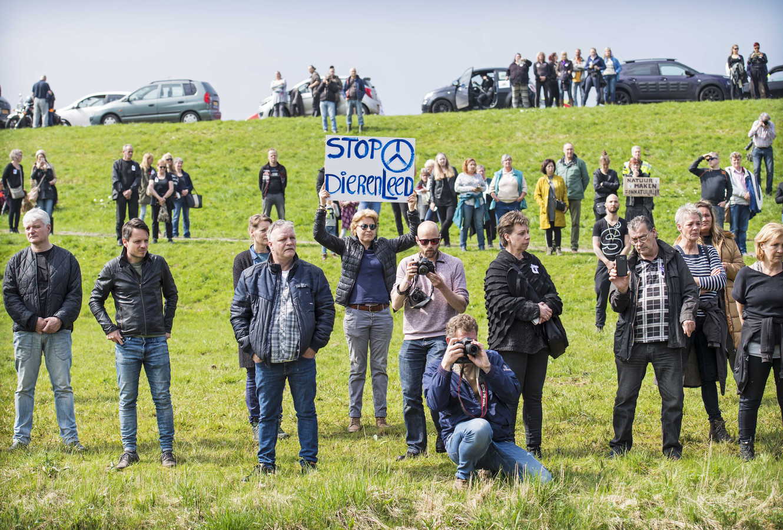 Veel mensen demonstreerden bij de Oostvaardersplassen tegen het huidige beleid.