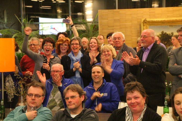 Vreugde bij Gemeentebelangen Berkelland in maart 2014 bij het vernemen van de verkiezingsuitslag in Berkelland. GB was hierbij de grote winnaar ten koste van VVD- en PvdA-aanhang.