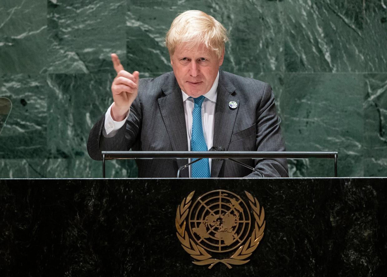 Brits eerste minister Boris Johnson tijdens zijn toespraak. Beeld EPA