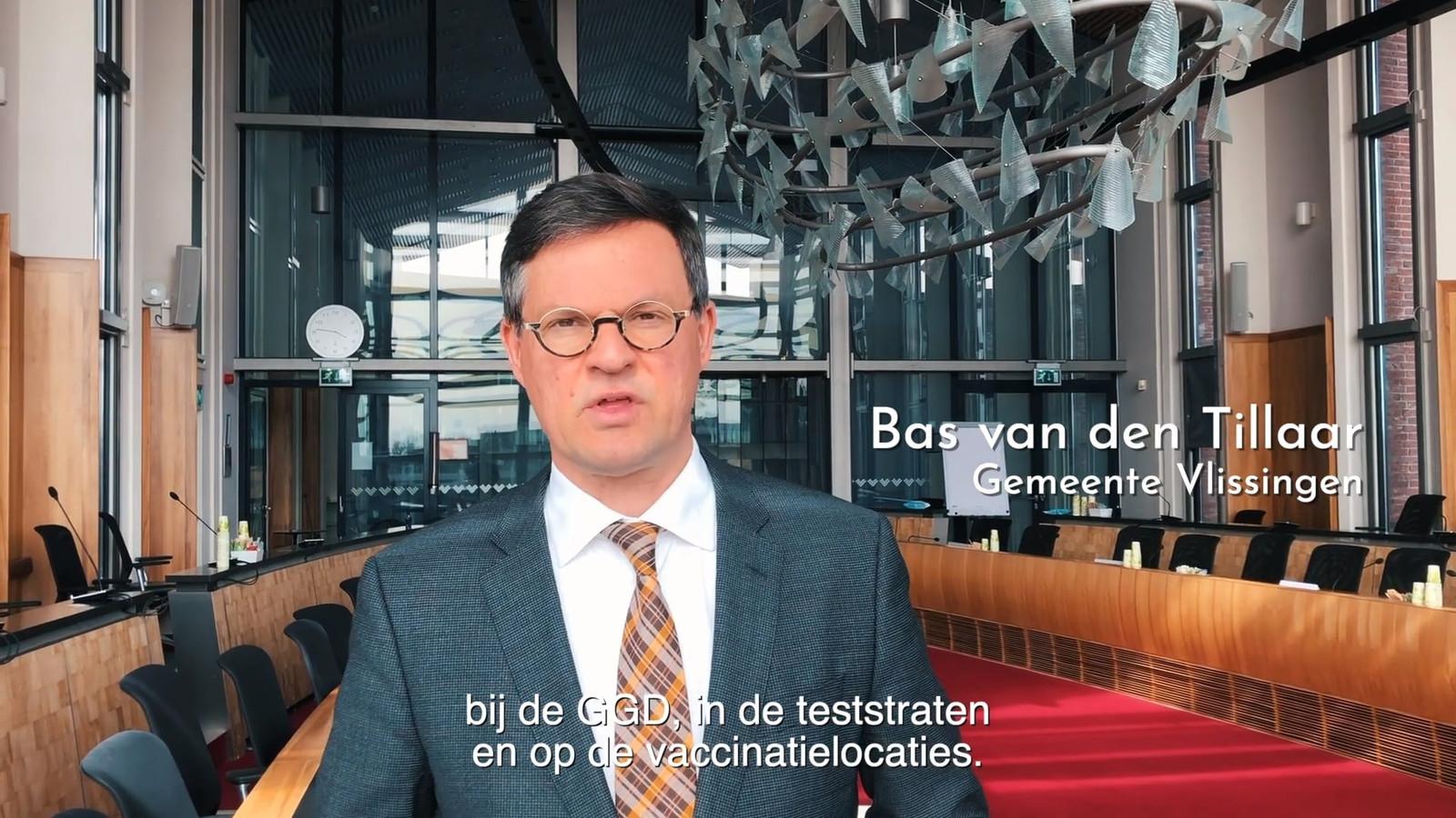Bas van den Tillaar, een van de Zeeuwse burgemeesters die meewerkten aan de videoboodschap.