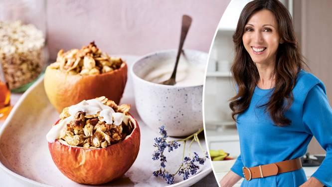Sandra Bekkari's favoriete herfstontbijt: gevulde appel met pecannoten