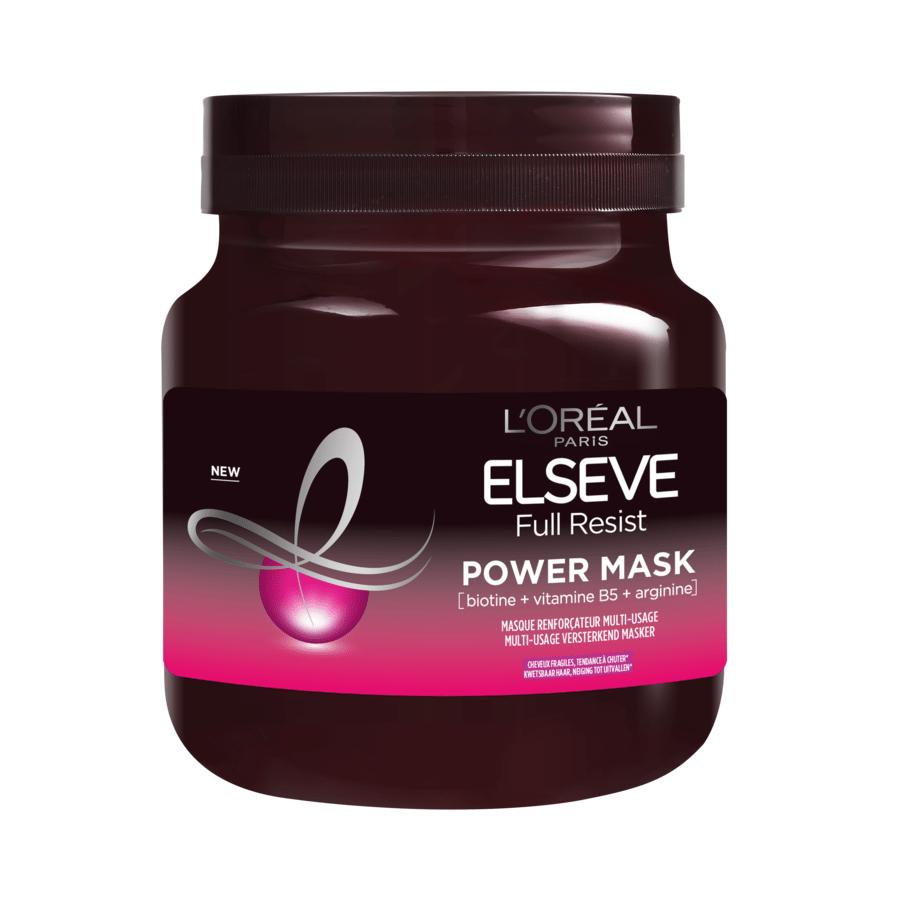 Masque réparateur Elsève Full Resist Power - Pénètre la fibre capillaire en profondeur pour soigner les cheveux fragilisés - Disponible chez Di et Kruidvat - Prix: 16,99 euros.