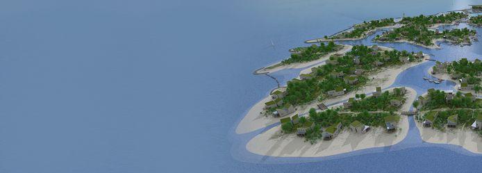 Brouwerseiland, groene archipel in de Grevelingen. illustratie Zeelenberg Architectuur
