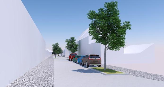 Eén van de opties voor de Langestraat voorziet asverschuivingen, gemarkeerd door plantvakken met bomen.