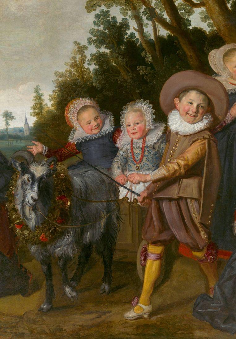 Kinderen van de familie Van Campen met een bokkenwagen, ca. 1623-1625 Beeld