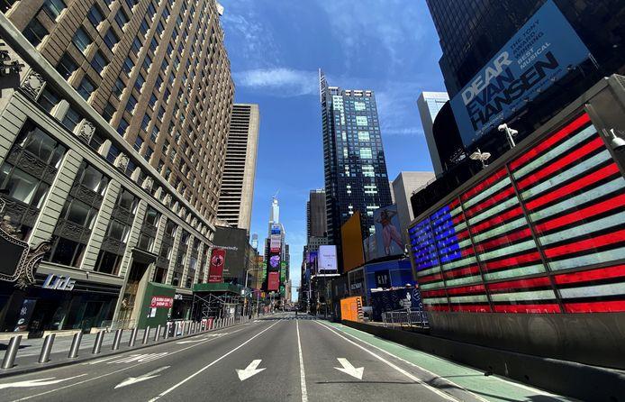 Een verlaten Times Square.