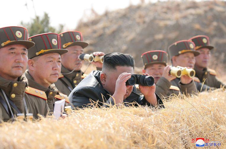 Staatspersbureau KCNA publiceerde zaterdag deze foto van de Noord-Koreaanse leider Kim Jong-un. Beeld AFP