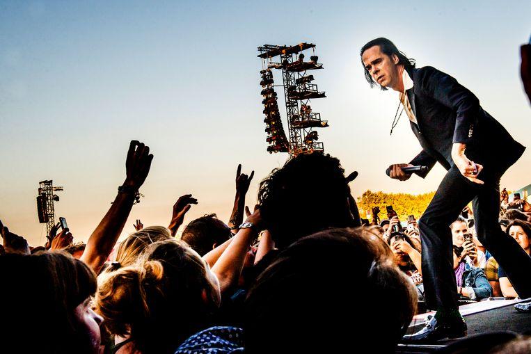 Nick Cave op Rock Werchter. Beeld Stefaan Temmerman