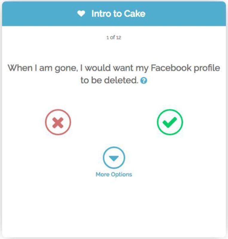 Een van de vele vragen die je op Cake moet beantwoorden om je digitale nalatenschap op te stellen. Beeld joincake.com