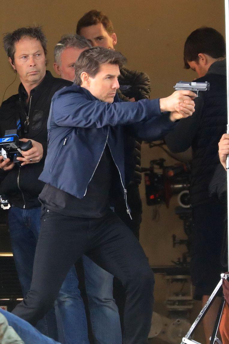 Tom Cruise op de set van de film 'Mission Impossible 6'. Beeld Photo News