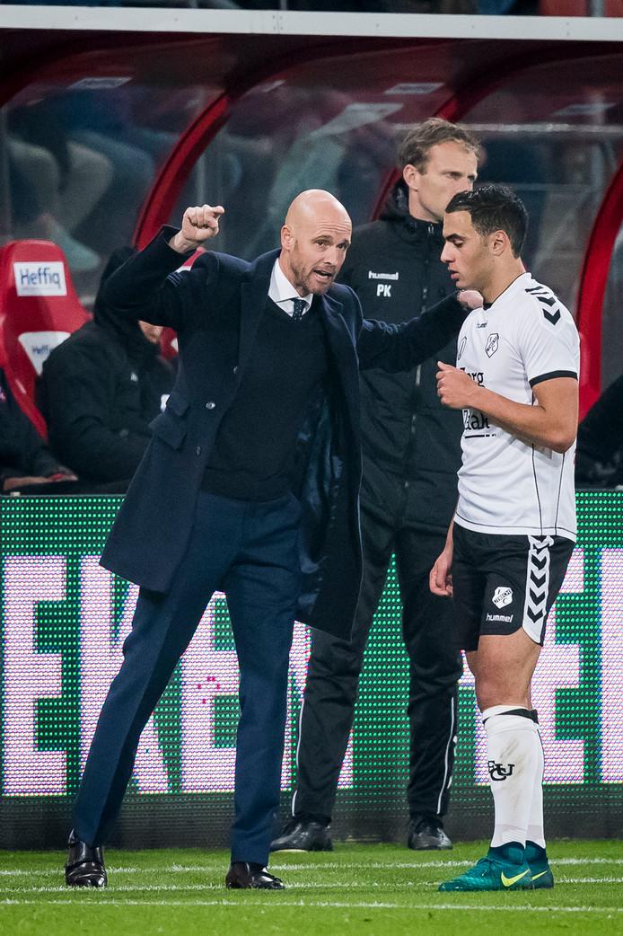 Sofyan Amrabat in zijn Utrecht-tijd met trainer Erik ten Hag.