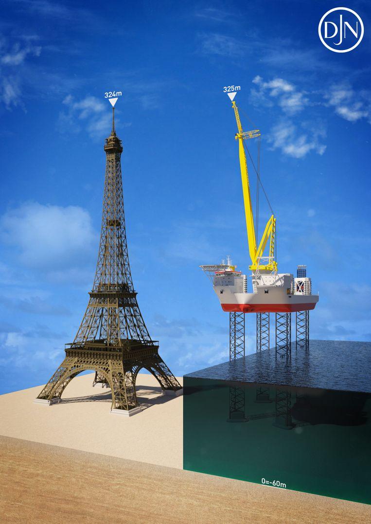 """""""Van top tot teen, met de palen op maximale waterdiepte en de hoofdkraan opgesteld, is de Voltaire even groot als de Eiffeltoren in Parijs."""""""